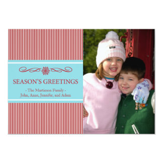 Xmas Stripes Christmas Card (Brugandy / Teal) Personalized Announcement