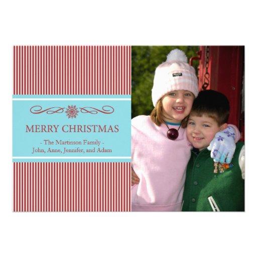 Xmas Stripes Christmas Card (Burgandy / Teal)