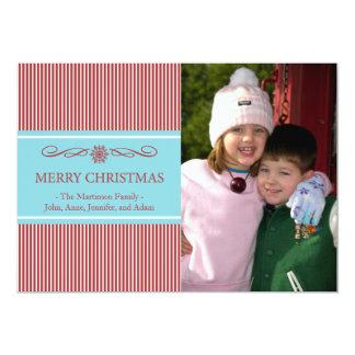 "Xmas Stripes Christmas Card (Burgandy / Teal) 5"" X 7"" Invitation Card"