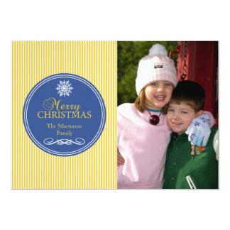 "Xmas Stripes Christmas Card (Gold / Blue) 5"" X 7"" Invitation Card"