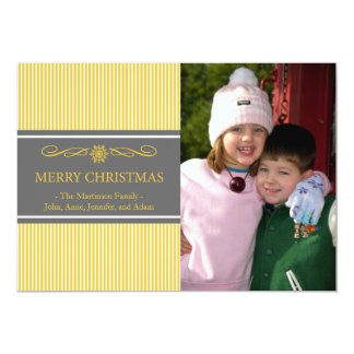 Xmas Stripes Christmas Card (Gold / Gray) Custom Invite
