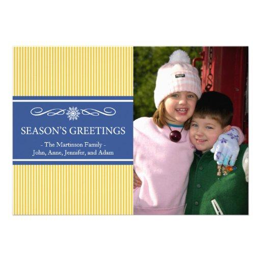 Xmas Stripes Christmas Card (Gold / Navy Blue)