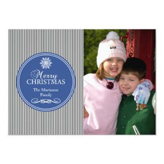 "Xmas Stripes Christmas Card (Gray / Blue) 5"" X 7"" Invitation Card"
