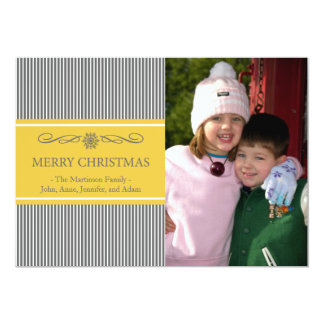 Xmas Stripes Christmas Card (Gray / Gold) Personalized Announcements