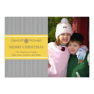 "Xmas Stripes Christmas Card (Gray / Gold) 5"" X 7"" Invitation Card"