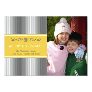 Xmas Stripes Christmas Card (Gray / Gold) Personalized Announcement