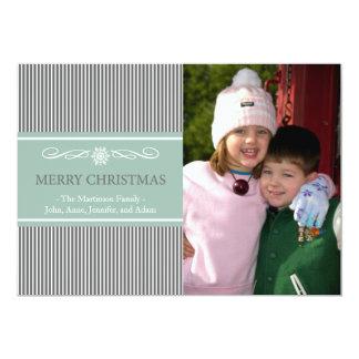 "Xmas Stripes Christmas Card (Gray / Mint Green) 5"" X 7"" Invitation Card"