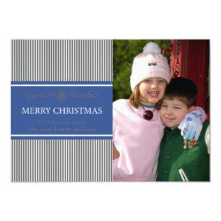 "Xmas Stripes Christmas Card (Gray / Navy Blue) 5"" X 7"" Invitation Card"