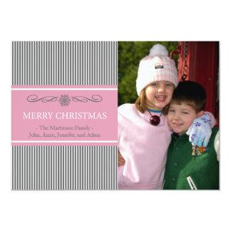 "Xmas Stripes Christmas Card (Gray / Pink) 5"" X 7"" Invitation Card"