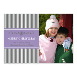 "Xmas Stripes Christmas Card (Gray / Purple) 5"" X 7"" Invitation Card"
