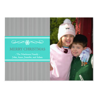 Xmas Stripes Christmas Card (Gray / Teal) Personalized Invite