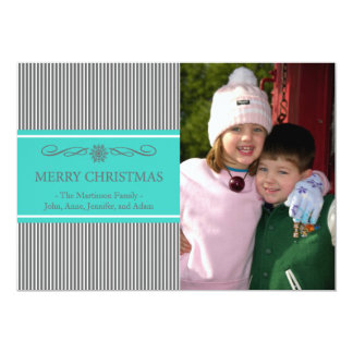"Xmas Stripes Christmas Card (Gray / Teal) 5"" X 7"" Invitation Card"