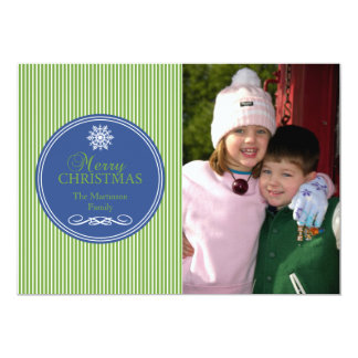 Xmas Stripes Christmas Card (Green / Blue) Personalized Announcements