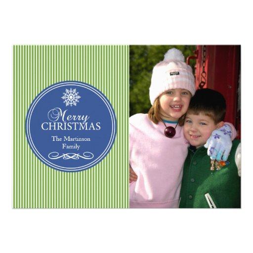 Xmas Stripes Christmas Card (Green / Blue)