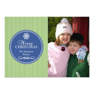 "Xmas Stripes Christmas Card (Green / Blue) 5"" X 7"" Invitation Card"