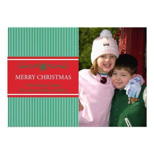 Xmas Stripes Christmas Card (Green / Red)