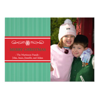 Xmas Stripes Christmas Card Green Red
