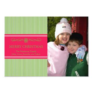 "Xmas Stripes Christmas Card (Green / Red) 5"" X 7"" Invitation Card"