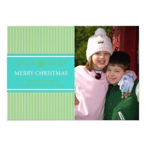 Xmas Stripes Christmas Card (Green / Teal)