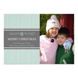 "Xmas Stripes Christmas Card (Mint Green / Gray) 5"" X 7"" Invitation Card"