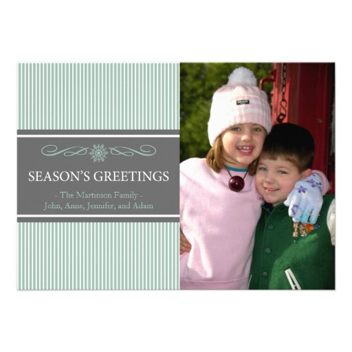 Xmas Stripes Christmas Card (Mint Green / Gray)