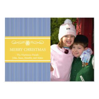 "Xmas Stripes Christmas Card (Navy Blue / Gold) 5"" X 7"" Invitation Card"