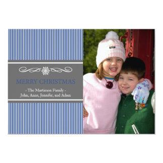 "Xmas Stripes Christmas Card (Navy Blue / Gray) 5"" X 7"" Invitation Card"