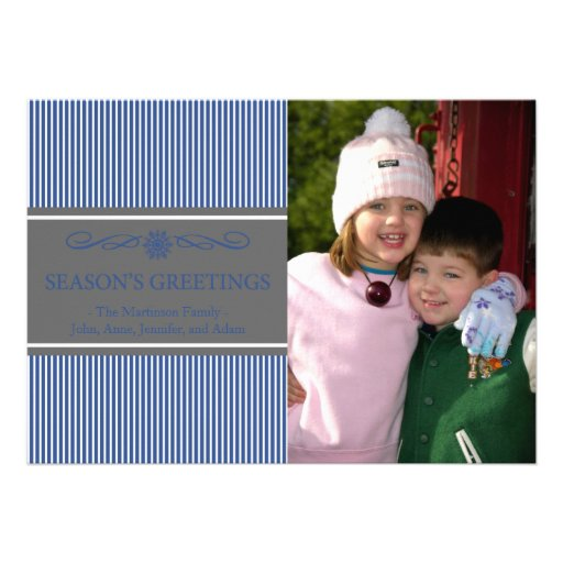 Xmas Stripes Christmas Card (Navy Blue / Gray)