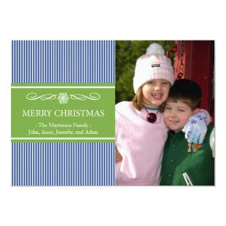 "Xmas Stripes Christmas Card (Navy Blue / Green) 5"" X 7"" Invitation Card"