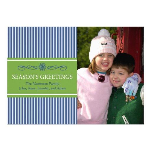 Xmas Stripes Christmas Card (Navy Blue / Green)