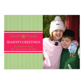 Xmas Stripes Christmas Card (Pale Green / Red) 13 Cm X 18 Cm Invitation Card