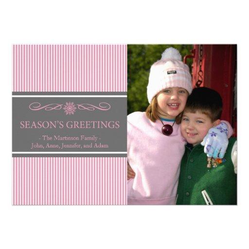 Xmas Stripes Christmas Card (Pink / Gray)