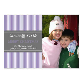"Xmas Stripes Christmas Card (Purple / Gray) 5"" X 7"" Invitation Card"
