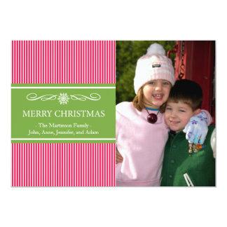 "Xmas Stripes Christmas Card (Red / Green) 5"" X 7"" Invitation Card"