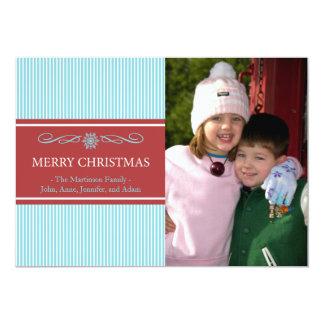 "Xmas Stripes Christmas Card (Teal / Burgandy) 5"" X 7"" Invitation Card"