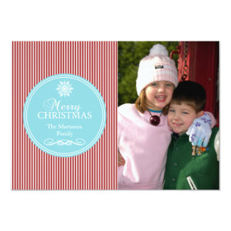 Xmas Stripes Christmas Card (Teal / Burgandy Red) Personalized Invites