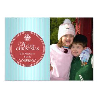 "Xmas Stripes Christmas Card (Teal / Burgandy Red) 5"" X 7"" Invitation Card"