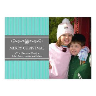 Xmas Stripes Christmas Card (Teal / Gray) Personalized Invitation