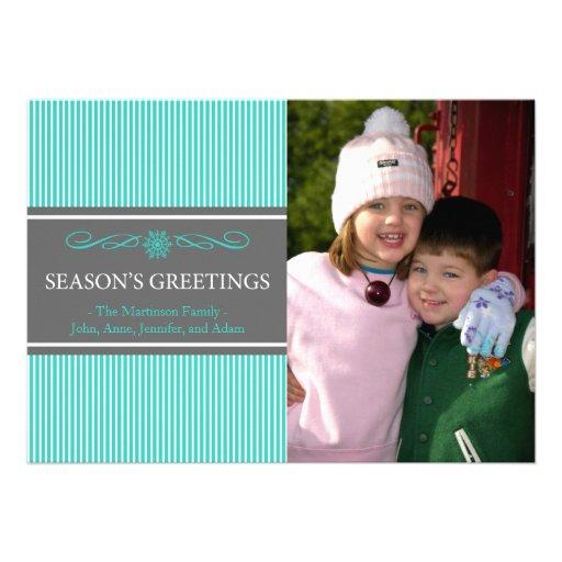 Xmas Stripes Christmas Card (Teal / Gray)