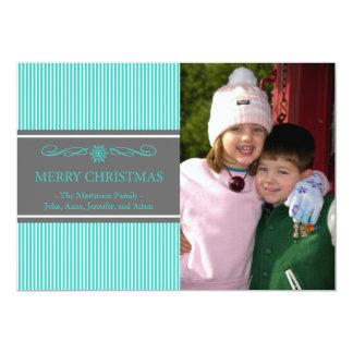 Xmas Stripes Christmas Card (Teal / Gray) Invitations