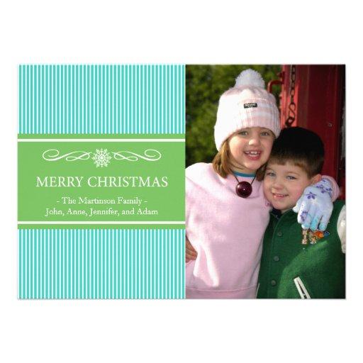 Xmas Stripes Christmas Card (Teal / Green)