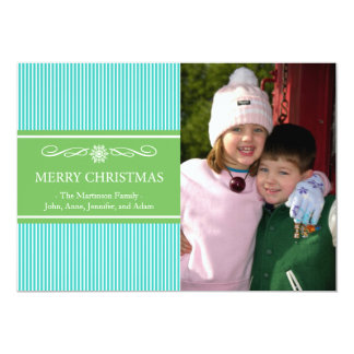 "Xmas Stripes Christmas Card (Teal / Green) 5"" X 7"" Invitation Card"