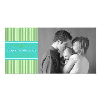 Xmas Stripes Christmas Photo Card (Green / Teal)