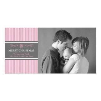 Xmas Stripes Christmas Photo Card (Pink / Gray)
