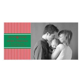 Xmas Stripes Christmas Photo Card (Red / Green)