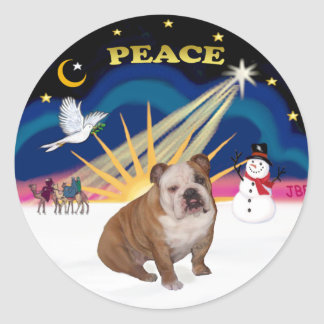 Xmas Sunrise (R) - English Bulldog 1 Classic Round Sticker