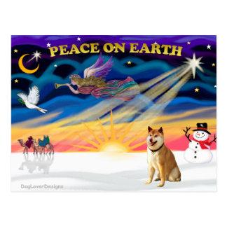 Xmas Sunrise - Shiba Inu 3 Postcard