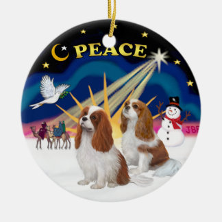 Xmas Sunrise - Two Blenheim Cavaliers Ceramic Ornament