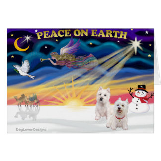 Xmas Sunrise - Two West Highland Terriers Greeting Cards