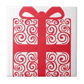 Xmas Swirl Gift Ceramic Tile